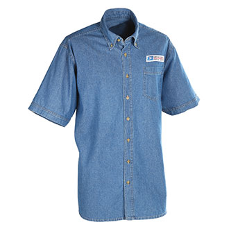 Postal Uniform Shirt Denim Short Sleeve for Mail Handlers an